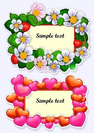 Flowers and hearts in a frame Standard-Bild - 102274205