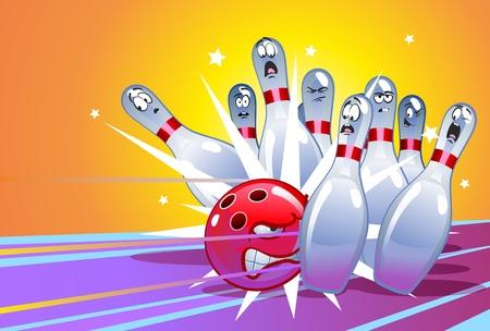 Funny Cartoon Bowling Illustration