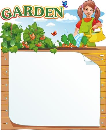 Girl watering plants in the garden Standard-Bild - 100331707