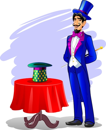 Magician with a wand and hat