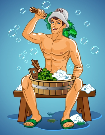 A Vector illustration of a man sitting in a steam bath