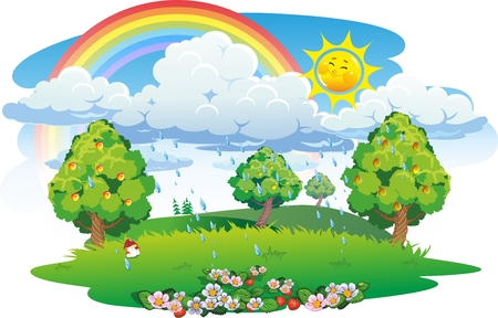 Orchard. Fruit garden. Summer landscape with rainbow.
