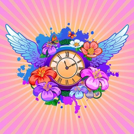 clock frame with floral elements Standard-Bild - 116683970