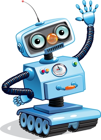 Cartoon robot waving his hand. Isolated on white Standard-Bild - 116683971