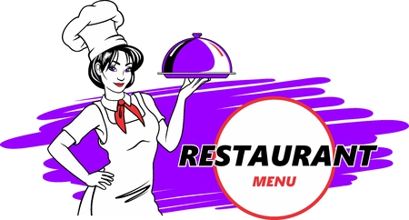 Restaurant cafe menu, template design. Food flyer with chef on background