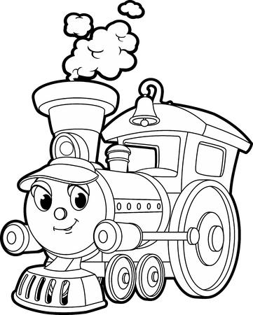 Ilustración de vector de contorno de dibujos animados de un tren sonriente, libro para colorear para niños.