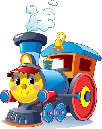 Funny multicolored locomotive, train. Toy train. Vector illustration Stock Illustratie