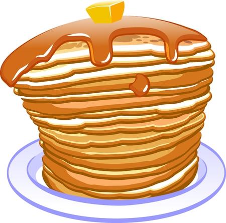 Fresh tasty hot pancakes with sweet maple syrup. Cartoon icon isolated on background Ilustração