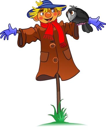 scarecrow and crow Ilustração