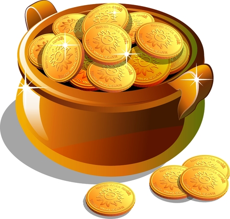 Full pot with gold coins. Isolated on white vector illustration