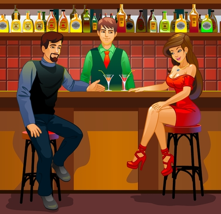 Acquaintance. Man and woman in the bar Ilustração
