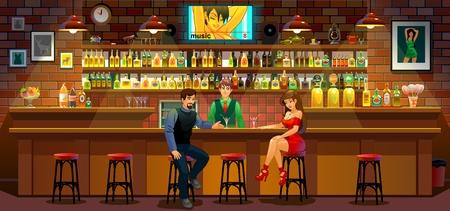 Meeting men and women. Acquaintance. Bar. A restaurant. Standard-Bild - 116684005