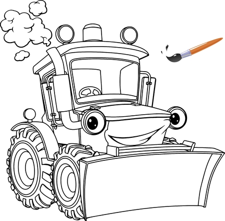 Funny tractor, bulldozer. Coloring pages. Coloring book design for kids and children