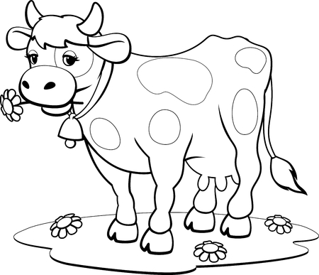 Cow coloring pages 向量圖像