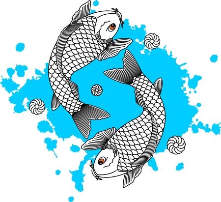Koi fish. Japanese carp fish. Vector illustration Standard-Bild - 116684032