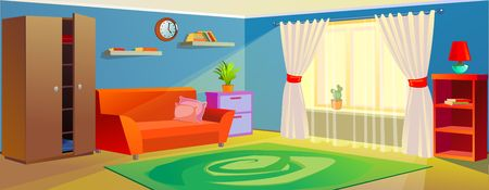 Vector cozy interior with wardrobe, sofa illustration Ilustração