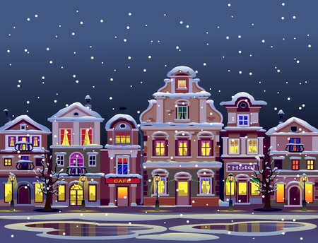 Night winter town in snow illustration