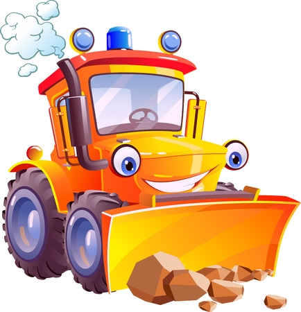 Cartoon. Funny tractor, bulldozer. Isolated on white background. Ilustração