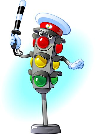 Traffic light traffic controller. Cheerful, kind, positive character 矢量图像
