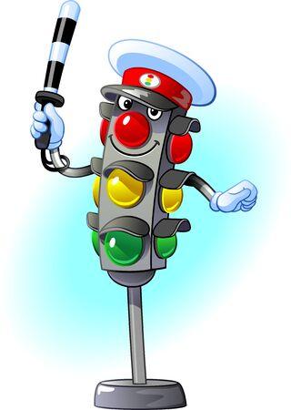 Traffic light traffic controller. Cheerful, kind, positive character Ilustração