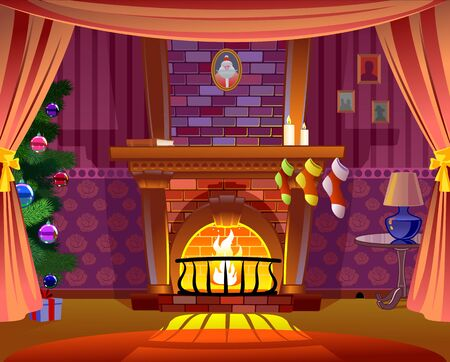 Fireplace for Christmas card