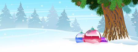 Christmas tree balls on snow