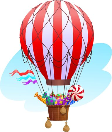 Hot air balloon. Balloon with a basket filled with sweets. Ilustração
