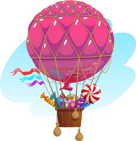 Balloon with a basket filled with sweets.