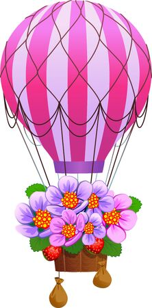 Floral gift, air balloon with flowers.