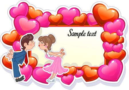 Wedding invitation card with couple characters 矢量图像