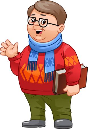 Young man nerd. Student geek character holds book.