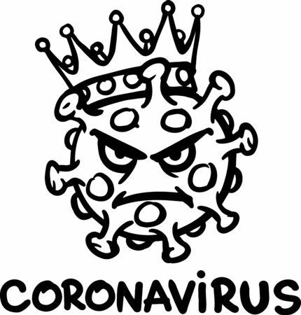 Black outline emblem. Coronavirus in the crown.