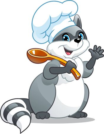 Raccoon cook. Character with a spoon. Cute image of the animal.