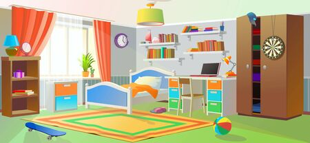 Modern teenager room. A large number of things and objects.