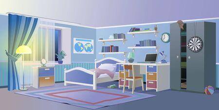 Children room. Evening, night, lamp light. Bed, books. Teenage room