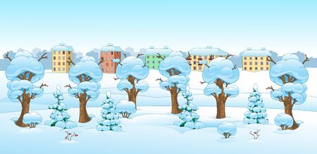 Cartoon drawing of a winter forest landscape. Horizontal background. Winter Houses with Snowing Background
