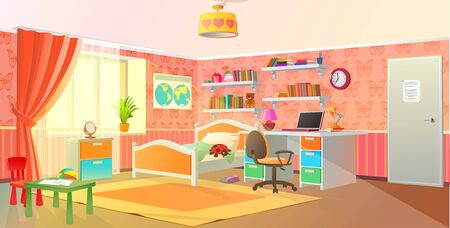 Girls room interior, teenage room, pink colors, vector illustration.