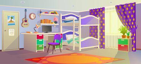 Teenager room. Design of a children room. Vector drawing for schoolchildren learning. Background