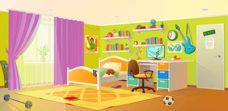 Teenager boy room interior design banner. Teenager room. Design of a children room. Vector drawing for schoolchildren learning. Background