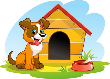 A cheerful Dog is sitting near the Booth. Funny cartoon dog on the lawn. A bowl of Bone. Vector illustration.