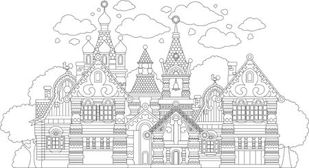 Coloring Pages. Coloring fairy tale castle. Antistress.