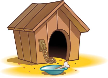 Wooden house for a dog. Cartoon version of the home for the dog put on a chain.