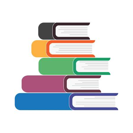 Five books stacked on top of each other, vector
