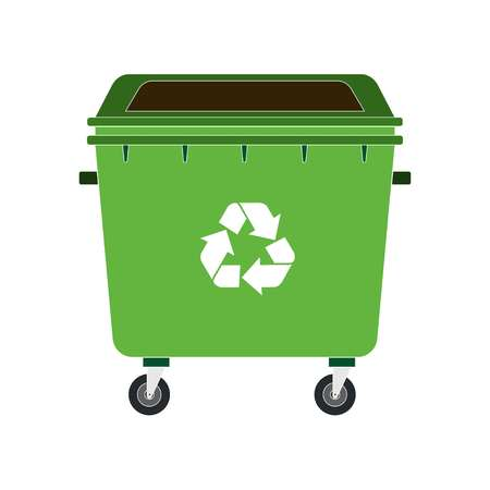 green dustbin on white background, vector