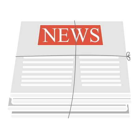 News in newspapers tied with a rope on a white background, vector