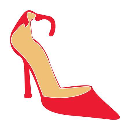 Female shoes of red color on a white background, vector