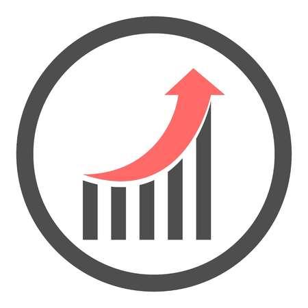Upward market with red arrow on white background, vector Vektorové ilustrace