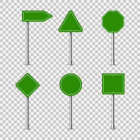 Green different road signs, vector
