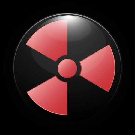 Radioactive contamination icon on black background, vector