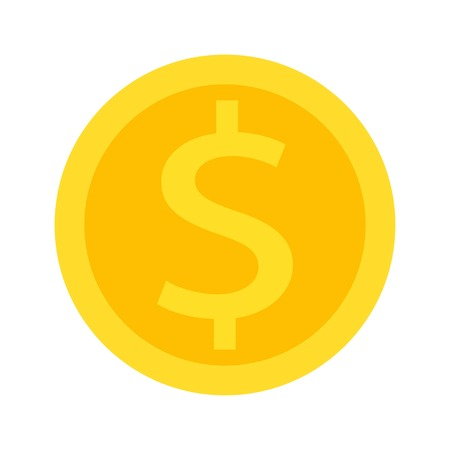 Dollar icon on white background, vector